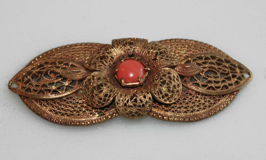 Antique coral and filigree brooch or pendant - Baba Store - 2