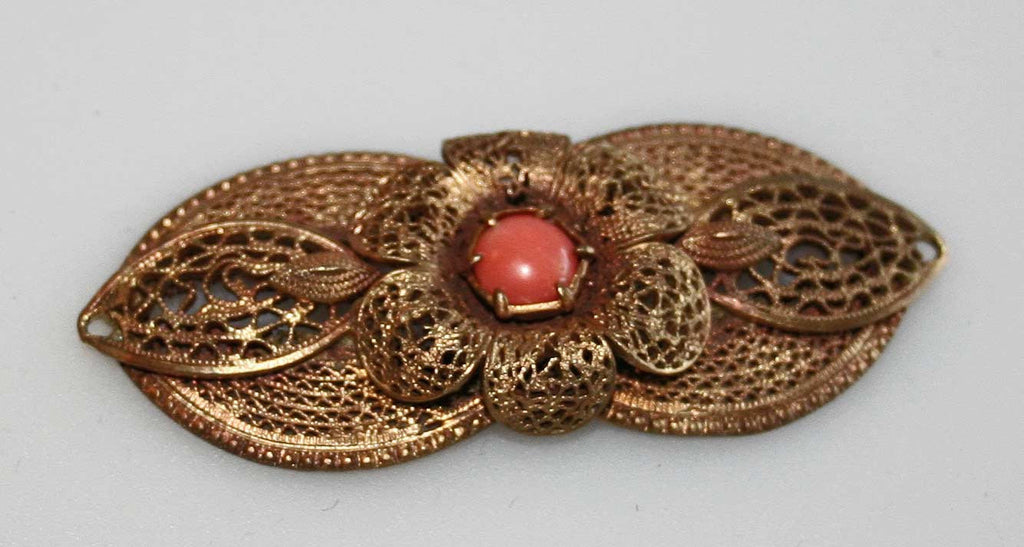 Antique coral and filigree brooch or pendant - Baba Store - 1