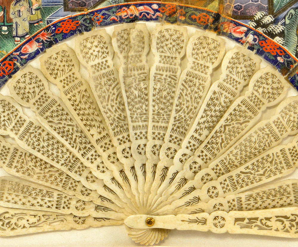 Rare and exquisite antique Chinese painted fan with carved ivory stick handle. - Baba Store - 2