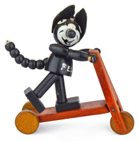 Original Felix the Cat on a scooter. Very rare vintage/antique collectible. Well-made wooden toy - Baba Store - 1