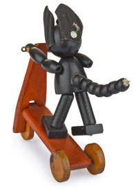 Original Felix the Cat on a scooter. Very rare vintage/antique collectible. Well-made wooden toy - Baba Store - 3