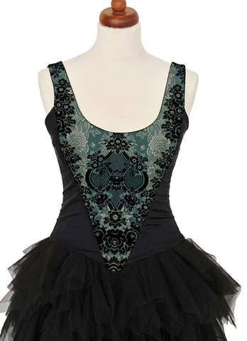 Lace Gothique, absinthe green, with black stretch silk