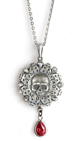 Memento Mori — Sterling silver pendant with garnet drop