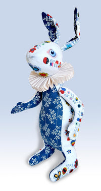 "RESERVED The White Rabbit ""Indigo Alice"" art doll — One off - Baba Store - 1"