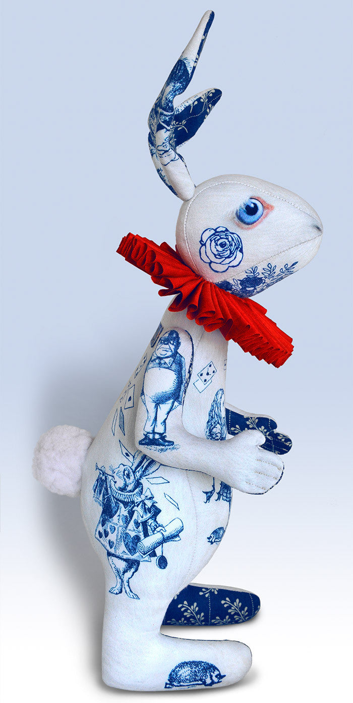 "The White Rabbit ""Indigo Alice"" art doll — One off with Alice Toile - Baba Store - 3"