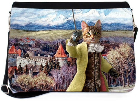 The Brave Tabby Messenger Bag - Baroque Bohemian Cats