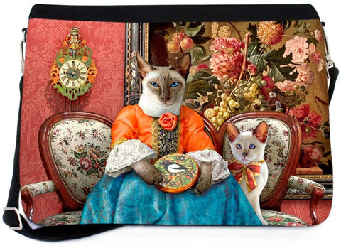 The Siamese Needlewoman Messenger Bag - Baroque Bohemian Cats