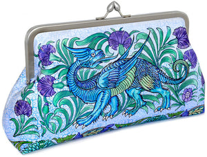 Mythical Dragons Arts and Crafts print. Satin clutch purse by Baba Studio.