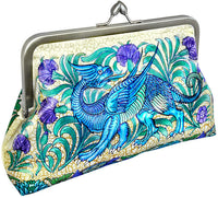Dragon and Unicorn by William de Morgan. Printed satin clutch bag by Baba Studio.