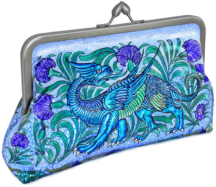 Unicorn and dragon satin clutch purse based on William de Morgan tiles. Arts and Crafts bag by Baba Studio