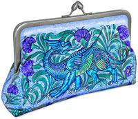 William de Morgan Mythical Dragon printed satin clutch purse. Bags by Baba Studio