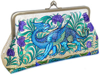 William de Morgan Mythical Dragons printed satin clutch bag by Baba Studio
