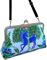 Dragon and Unicorn printed satin clutch bag based on William de Morgan tiles. Baba Studio Arts and Crafts