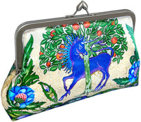 Dragon and Unicorn by William de Morgan. Arts and Crafts printed satin clutch purse by Baba Studio.