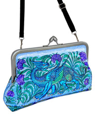 William de Morgan Mythical Dragons printed satin clutch bag. Purses by Baba Studio