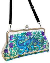 Mythical Dragons, satin clutch by Baba Studio. William de Morgan Arts and Crafts print