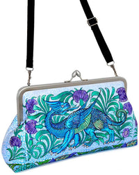Mythical Dragons Arts and Crafts printed satin clutch purse from Baba Store.