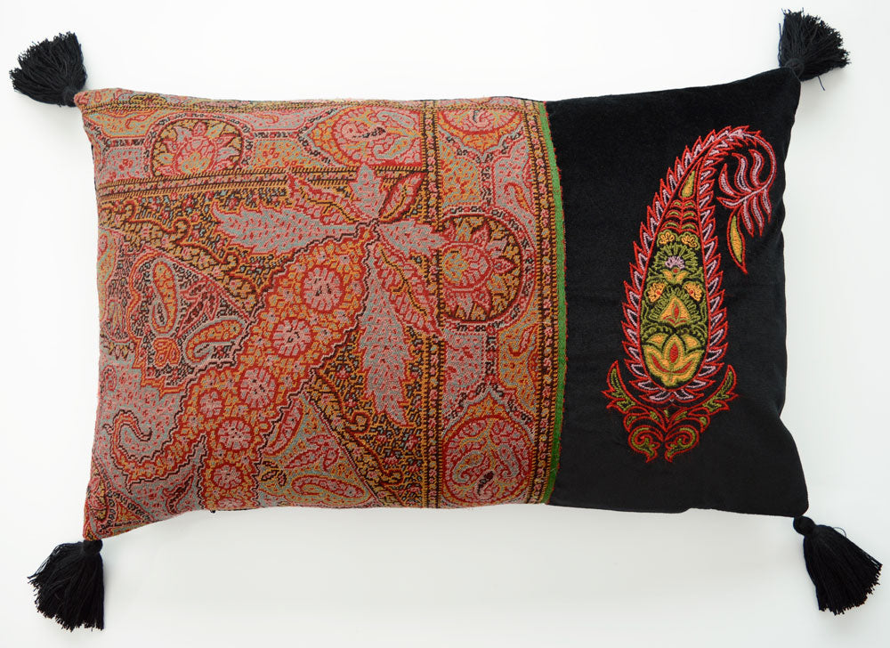 Further reduction! Paisley Pillow - embroidered cushion with antique Victorian paisley fabric and velvet. Sample.