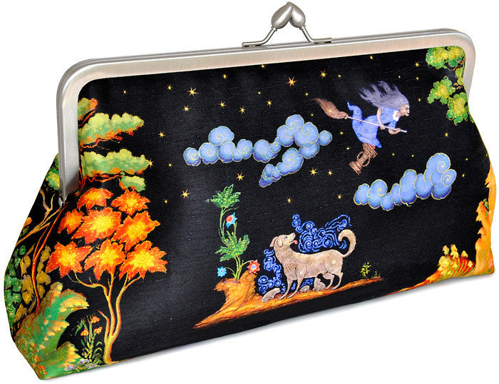 A Russian Fairytale, satin printed clutch bag with Palekh print from lacquer box. By Baba Studio