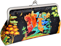 Russian Fairytale, printed satin clutch purse at Baba Store. Baba Yaga, Firebird. Ivan pictures.