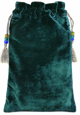 Drink Me — teal silk velvet tarot bag