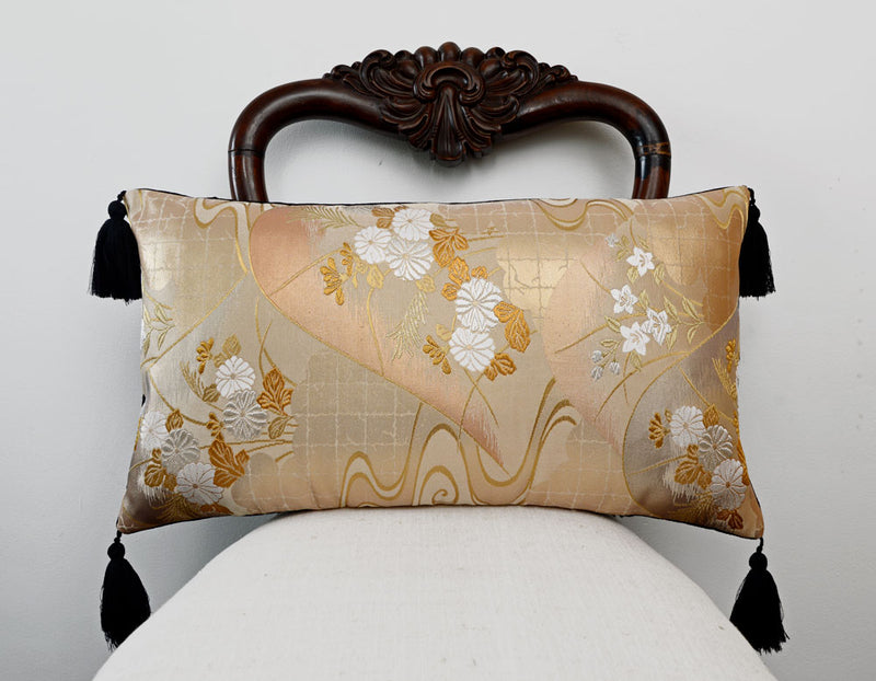 Cushion, Japanese obi, silk pillow, vintage, cushion, decorative pillow, floral design