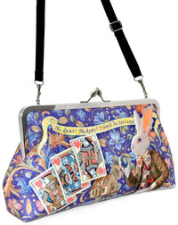 The White Rabbit printed satin clutch bag. Printed purse with Alice and White Rabbit print. Designed by Baba Studio