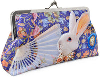 The White Rabbit printed clutch purse. Satin bag lined with specially printed satin. Alice and White Rabbit print. By Baba Studio