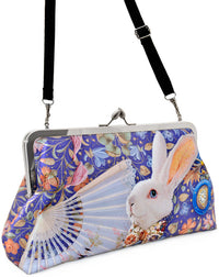The White Rabbit, lavender version. Printed clutch purse by Baba Studio. Alice in Wonderland theme.