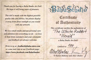 "The White Rabbit ""Herald"" art doll, Limited edition of 100 - Baba Store - 4"