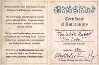 Certificate of Authenticity - handmade art dolls by Baba Studio, The White Rabbit from The Alice Tarot, limited edition dolls in costume.