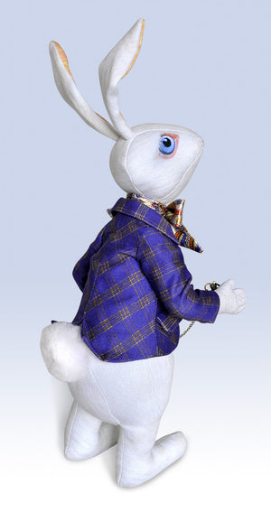 "Reserved, please don't buy. The White Rabbit ""I'm late!"" art doll, with traditional printed ""tweed"" jacket - Baba Store - 3"