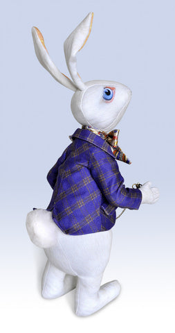 "Reserved, please don't buy. The White Rabbit ""I'm late!"" art doll, with traditional printed ""tweed"" jacket"