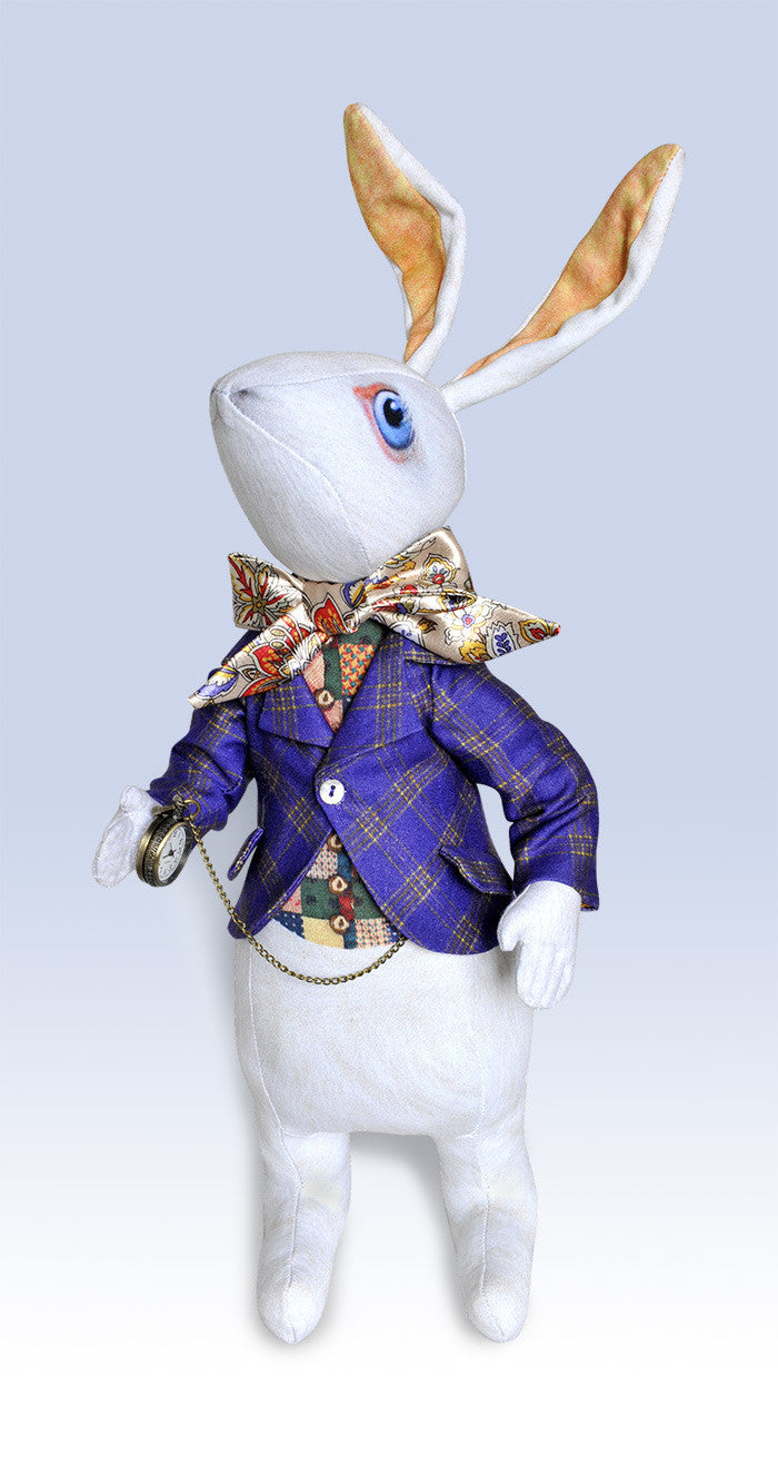 "Reserved, please don't buy. The White Rabbit ""I'm late!"" art doll, with traditional printed ""tweed"" jacket - Baba Store - 2"