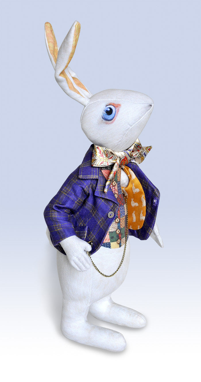 "Reserved, please don't buy. The White Rabbit ""I'm late!"" art doll, with traditional printed ""tweed"" jacket - Baba Store - 4"