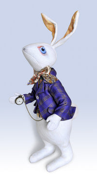 "The White Rabbit ""I'm late!"" art doll, with traditional printed ""tweed"" jacket - Baba Studio"