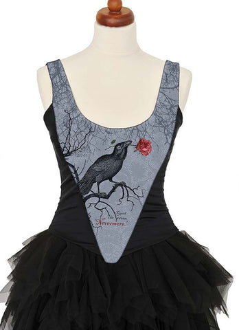 The Raven, with black stretch silk