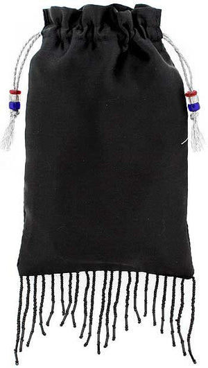 Black pure silk satin with beaded fringing - Baba Store - 1