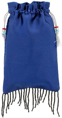 Blue pure silk satin with beaded fringing - Baba Store - 1