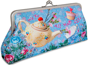 The Tea Party printed bag. Satin clutch purse priinted with Alice, Wonderland, Mad Hatter, March Hare print.