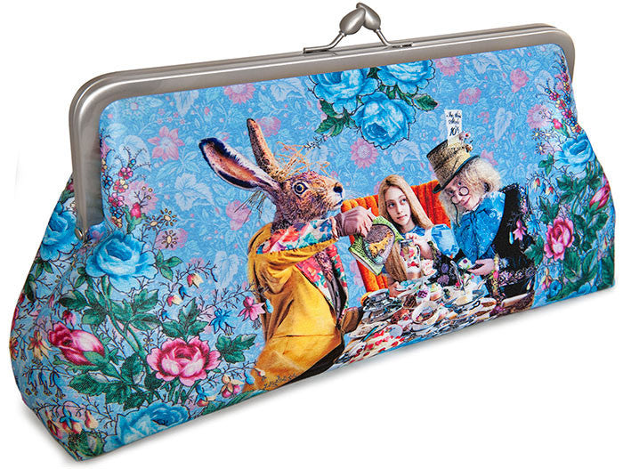 The Tea Party printed clutch purse. Satin bag with Alice, Wonderland, Mad Hatter, March Hare print.