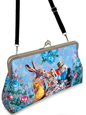 The Tea Party, soft blue clutch purse printed with Alice in Wonderland, Mad Hatter print.