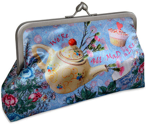 The Tea Party Alice in Wonderland clutch purse with Mad Hatter, Alice, March hare prints.