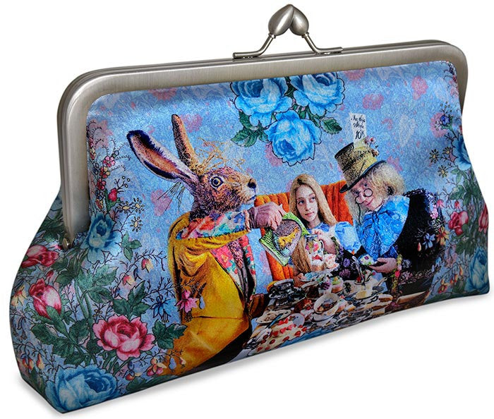 The Tea Party printed clutch. Satin bag with Wonderland, Mad Hatter, Alice, March Hare prints.