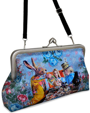 The Tea Party, soft blue clutch with Alice in Wonderland prints - Baba Store - 5