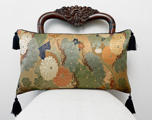 kimono cushion, japanese obi, silk, vintage fabric, gold cushion, upcycled, handmade pillow, chrysanthemums, metallics, decorative pillow, tassels