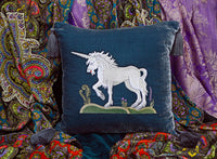 Unicorn, cushion cover, pillow, silk velvet, embroidered, medieval unicorn, unicorn embroidery