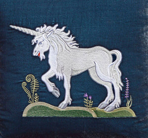 embroidered unicorn, embroidered cushion, pillow, silk velvet, embroidered, medieval unicorn, unicorn embroidery
