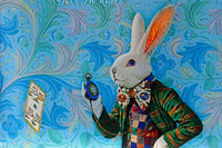 The White Rabbit, sky blue version, pure silk-satin scarf/wrap. - Baba Store - 5