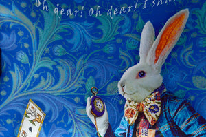 The White Rabbit, dark blue version, pure silk-satin scarf/wrap. - Baba Store - 5